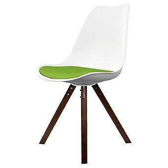 Fusion Living Eiffel Inspired White And Green Dining Chair With Square Pyramid Dark Wood Legs