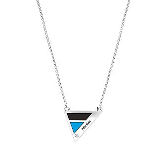 Miami Marlins Engraved Sterling Silver Diamond Geometric Necklace In Black and Sky Blue