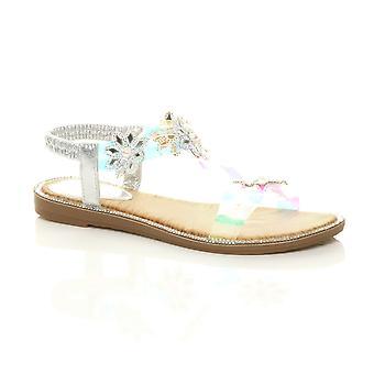 Ajvani Womens flat diamante pearl flower perspex slingback t-bar sandals