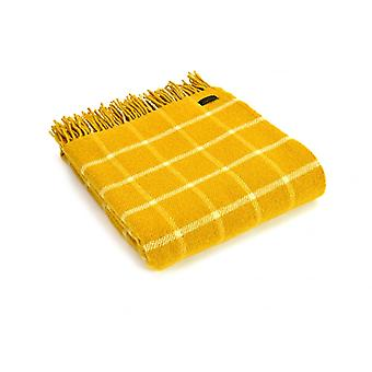Tweedmill Pure New Wool Chequered Check Throw - Yellow
