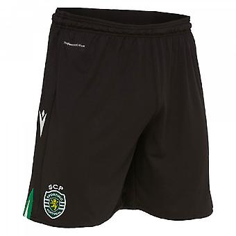 2019-2020 Sporting Lisbon Macron Home Shorts (Black)