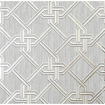 Arthouse Gianni Metallic Foil Geo Twist Knot Pattern Textured Lined Wallpaper 903105