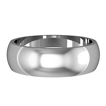 Κοσμήματα του Λονδίνου 18ct λευκό χρυσό-6mm απαραίτητο σχήμα D μπάντα δέσμευση/δαχτυλίδι γάμου