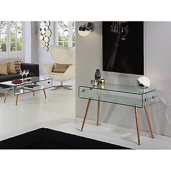Schuller Glass Ii Console Table, Beechwood Leg