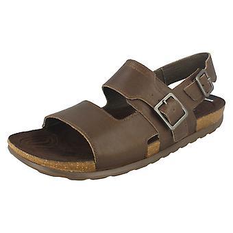 mens Merrell fibbia fibbia sandali Backstrp centro - terra scura pelle - taglia UK 7M - EU Taglia 41 - taglia US 7.5