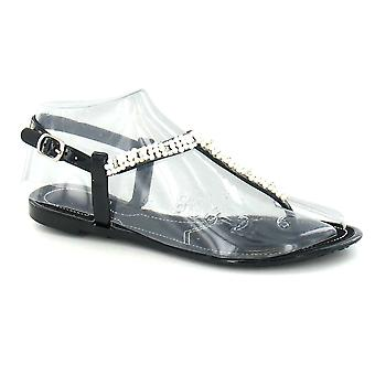 Spot On Diamante Pearl Toepost Jelly Sandals