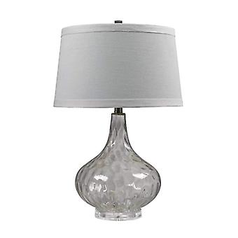 Clear water glass table lamp with white linen shade - led