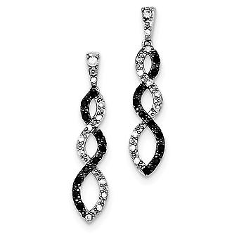 925 Sterling Argento Dangle lucidato Aperto posteriore Rhodium placcato e Rhodium Nero con Nero e Bianco Cubico Twist
