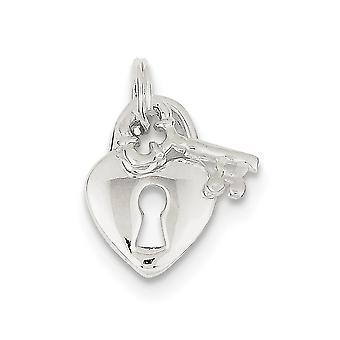 925 sterling sølv poleret split ring hjerte og nøgle Charm-1,8 gram