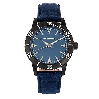 Morphic M85 Series Canvas-Overlaid Leather-Band Watch - Noir/Bleu
