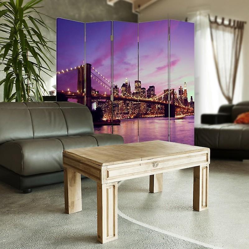 Diviseur de chambre, 5 panneaux, double-sided, 360 rotatable, toile, Manhattan au coucher du soleil