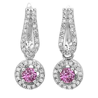 Dazzlingrock Collection 14K Round Pink Sapphire & White Diamond Ladies Halo Style Dangling Drop Earrings, White Gold