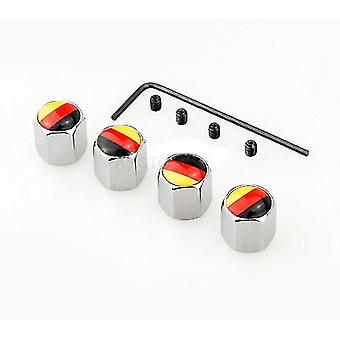 Set of 4 Germany Flag Chrome Anti-Theft Car Tyre Air Dust Valve Stem Cap For All Manufactures
