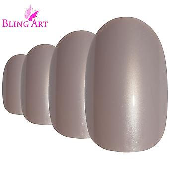 False nails by bling art beige glitter oval medium fake acrylic 24 tips with glue
