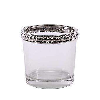 Support de tealight en verre avec garniture en métal