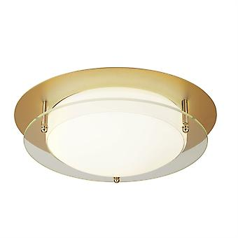 Suchscheinwerfer Badezimmer Flush Integrated LED 1 Light Semi Flush Gold, Weiß IP44 6830-30GO