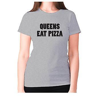 Womens funny foodie t-shirt slogan tee ladies eating - Queens eat pizza