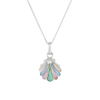 Eternal Collection Iridescent Mother Of Pearl Shell Sterling Silver Pendant