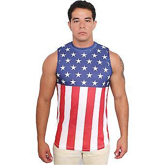 USA Flag Men's Sleeveless Crew Neck Tank Top