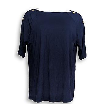 Martha Stewart Women's Top Knit Elbow Sleeve Blue A307683