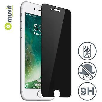 فيلم iPhone 8 / 7 حماية الشاشة الزجاج المصبغة مكافحة التجسس - Muvit