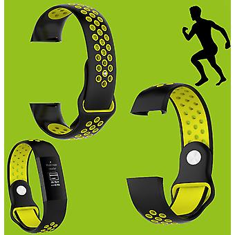 For Fitbit Charge 3 plastik/silikone armbånd til kvinder/størrelse S sort-gule ur