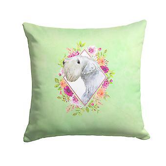 Sealyham Terrier Green Flowers Fabric Decorative Pillow