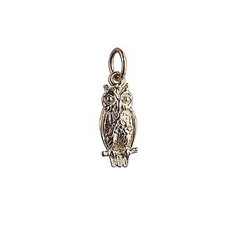 9ct Gold 15x7mm Owl Pendant or Charm