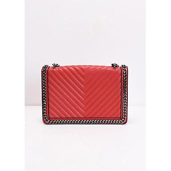 Chevron Chain Shoulder Bag Red