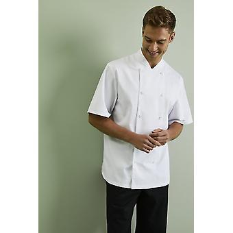 SIMON JERSEY Men's Essentials Short Sleeve Popper Chef's Jacket, White