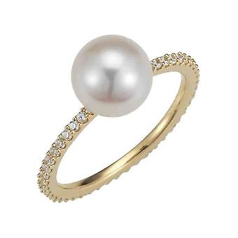 Adriana Ring Silver 925 Gold plated freshwater round white 8-9mm Romantica A169-60