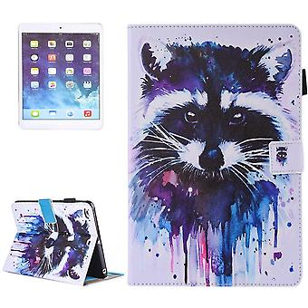 For iPad 2018,2017 9.7in Wallet Case,Watercolorful Racoon Leather Cover