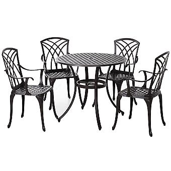 Outsunny Patio Cast Aluminium 5 PCS Dining Table & 4 Chairs Set Outdoor Garden Furniture
