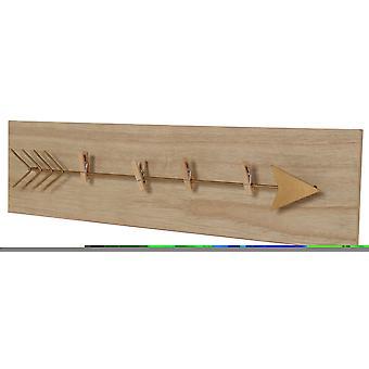 Wellindal 2. Pack Portafotos Wäscheleine Holz mit einer Zange Pfeil