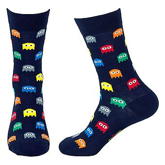 Men's Retro Video Game Ghosts Newy Crew Socks