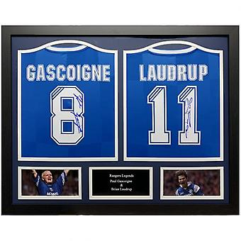 Rangers Gascoigne & Laudrup Signert skjorte (Duo Innrammet)