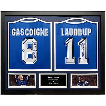 Rangers Gascoigne & Laudrup signiert Shirt (Duo gerahmt)