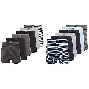 FLOSO Mens Cotton Mix Boxer Shorts (Pack Of 6)