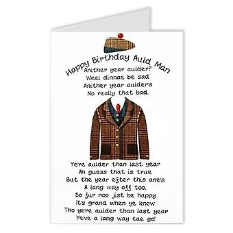 Embroidered Originals Auld Man Poem Scottish Birthday Card