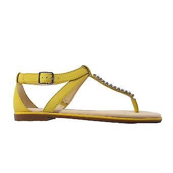 Clarks מפרץ פופי עור צהוב נשים בסנדלים T