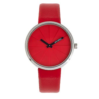 Simplify The 4000 Leather-Band Watch - Red