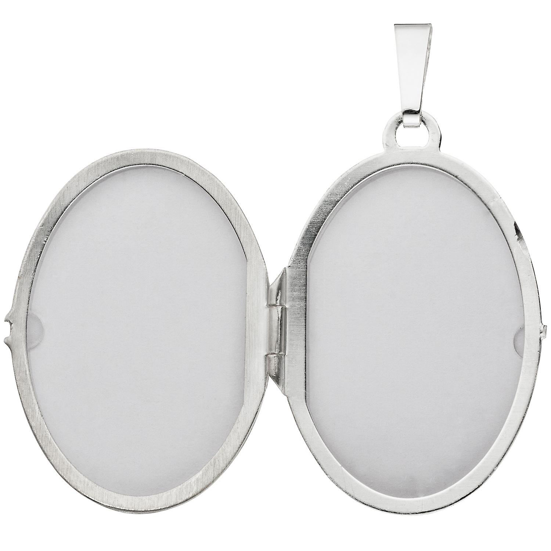 Damen Medaillon oval 925 Sterling Silber rhodiniert mattiert Anhänger zum Öffnen