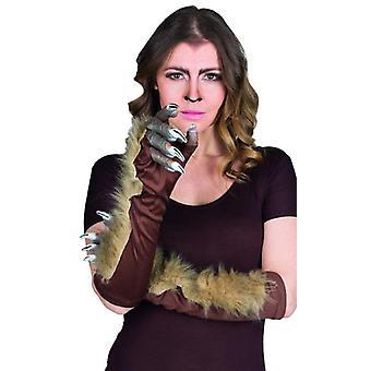 Werwolf Handschuhe braun Erwachsene Accessoire Halloween Horror