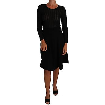 Dolce & Gabbana Black Knitted Wool Sheath Long Sleeves Dress -- DR15131248
