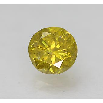 Cert 0.55 Carat Vivid Yellow SI2 Round Brilliant Enhanced Natural Diamond 5.01mm