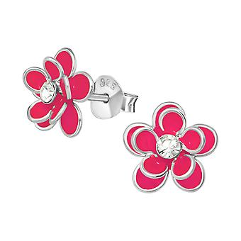 Flower - 925 Sterling Silver Crystal Ear Studs - W21526x