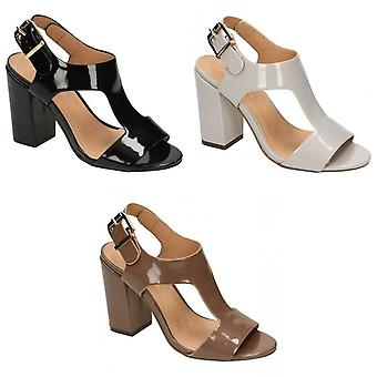Anne Michelle Womens/Ladies Patent Buckle Sling Strap Chunky High Heels