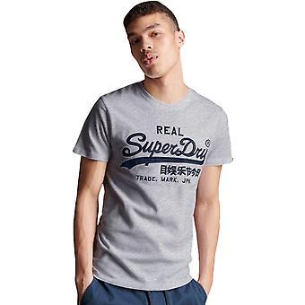 Superdry Vintage Logo Mono Embroidered T-Shirt Grey 43