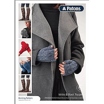 Patons Knitting Pattern - Wool Blend Aran and Diploma Gold DK - Mitts and Boot Toppers