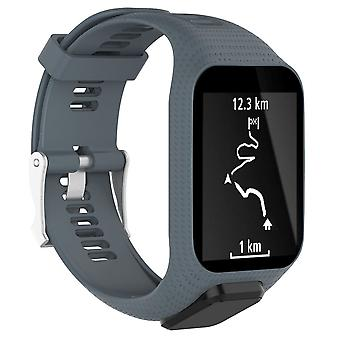 for TomTom Spark Replacement Wristband Bracelet Strap Band Metal Buckle GPS Watch[Slate]